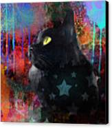 Pop Art Black Cat Painting Print Canvas Print by Svetlana Novikova