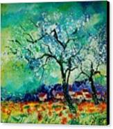 Poppies And Appletrees In Blossom Canvas Print