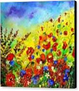Poppies And Blue Bells Canvas Print