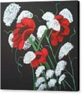 Poppies And Lace Canvas Print