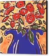 Poppies In Blue Vase 2001 Canvas Print