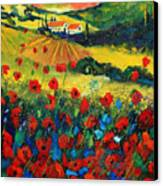 Poppies In Tuscany Canvas Print