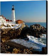 Portland Head Light - Lighthouse Seascape Landscape Rocky Coast Maine Canvas Print by Jon Holiday