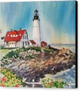 Portland Head Light Canvas Print by Dianna  Willman