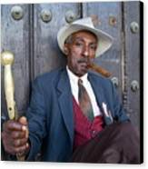 Portrait Of A Man Wearing A 1930s-style Suit And Smoking A Cigar In Havana Canvas Print by Sami Sarkis