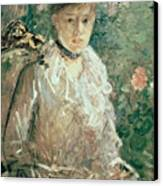 Portrait Of A Young Lady Canvas Print by Berthe Morisot