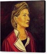 Portrait Of Hillary Clinton Canvas Print by Ricardo Santos-alfonso