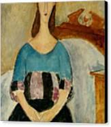 Portrait Of Jeanne Hebuterne Canvas Print by Amedeo Modigliani