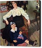 Portrait Of Marie Coca And Her Daughter Canvas Print by Marie Clementine Valadon