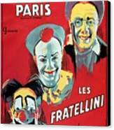 Poster Advertising The Fratellini Clowns Canvas Print