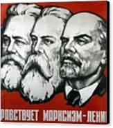 Poster Depicting Karl Marx Friedrich Engels And Lenin Canvas Print by Unknown