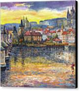 Prague Charles Bridge And Prague Castle With The Vltava River 1 Canvas Print