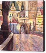 Prague Charles Bridge Night Light 1 Canvas Print