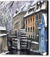Prague Chertovka Winter Canvas Print