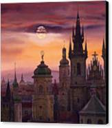 Prague City Of Hundres Spiers Canvas Print