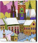 Prague Old Roofs Prague Castle Winter Canvas Print by Yuriy  Shevchuk