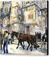 Prague Old Town Square Astronomical Clock Or Prague Orloj  Canvas Print by Yuriy  Shevchuk