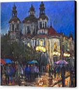 Prague Old Town Square St Nikolas Ch Canvas Print