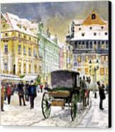 Prague Old Town Square Winter Canvas Print by Yuriy  Shevchuk