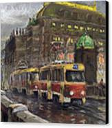 Prague Tram Legii Bridge National Theatre Canvas Print