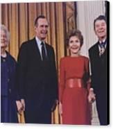President George Bush Presents Canvas Print by Everett