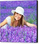 Pretty Woman On Lavender Field Canvas Print by Anna Om