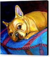 Princess And Her Pillow French Bulldog Canvas Print