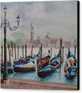 Parking Gondolas In Venice Canvas Print by Charles Hetenyi