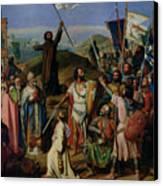 Procession Of Crusaders Around Jerusalem Canvas Print by Jean Victor Schnetz
