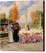 Promenade Des Enfants  Canvas Print by Timoleon Marie Lobrichon