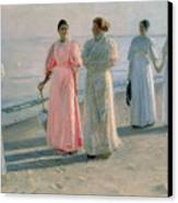 Promenade On The Beach Canvas Print by Michael Peter Ancher