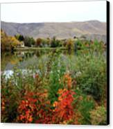 Prosser Autumn River With Hills Canvas Print by Carol Groenen