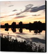 Prosser Sunset With Riverbank Silhouette Canvas Print