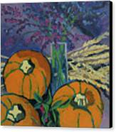 Pumpkins And Wheat Canvas Print by Erin Fickert-Rowland