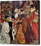 Queen Mary And Princess Elizabeth Entering London Canvas Print by John Byam Liston Shaw