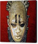 Queen Mother Idia - Ivory Hip Pendant Mask - Nigeria - Edo Peoples - Court Of Benin On Red Velvet Canvas Print by Serge Averbukh