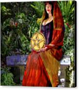 Queen Of Pentacles Canvas Print by Tammy Wetzel
