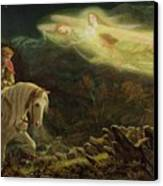Quest For The Holy Grail Canvas Print by Arthur Hughes