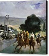 Races At Longchamp Canvas Print by Edouard Manet