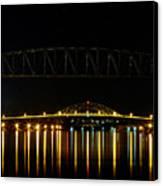 Railroad And Bourne Bridge At Night Cape Cod Canvas Print by Matt Suess