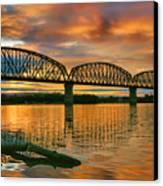 Railroad Bridge At Sunrise Canvas Print by Steven Ainsworth