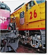 Railroad Museum Triptych Canvas Print by Steve Ohlsen