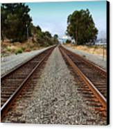 Railroad Tracks With The New Alfred Zampa Memorial Bridge And The Old Carquinez Bridge In Distance Canvas Print