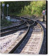 Railroads Merging Canvas Print by Richard Mitchell