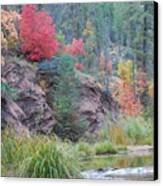 Rainbow Of The Season With River Canvas Print by Heather Kirk
