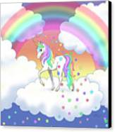 Rainbow Unicorn Clouds And Stars Canvas Print by Crista Forest
