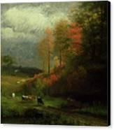 Rainy Day In Autumn Canvas Print by Albert Bierstadt