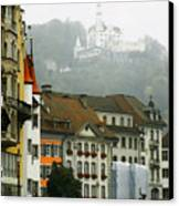 Rainy Day In Lucerne Canvas Print by Linda  Parker