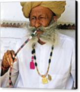Rajasthani Elder Canvas Print by Michele Burgess