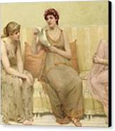 Reading The Story Of Oenone Canvas Print by Francis Davis Millet